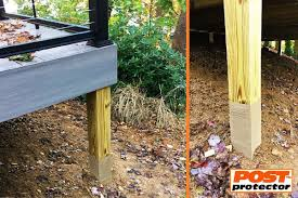 Post Protector Provides Post Decay Rot And Chemical Migration Protection For In Ground Posts Pole Barns Fence Post Installation Deck Posts Cedar Fence Posts