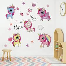 Amazon Com Runtoo Unicorn Wall Decal Cute Rainbow Star Wall Art Stickers For Kids Girls Bedroom Baby Nursery Princess Wall Decor Home Kitchen