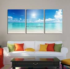 vertical wall art 3 piece canvas blue