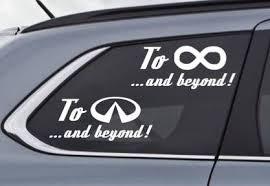 To Infinity And Beyond Or To Infiniti And Beyond Car Logo Etsy Custom Vinyl Decal Custom Window Stickers Infiniti
