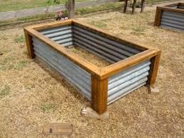 garden bed timber corrugated garden