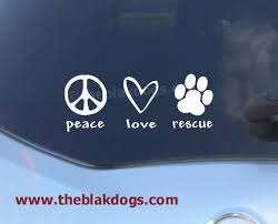 Peace Love Rescue Vinyl Sticker Car Decal Etsy