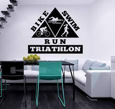 Amazon Com Triathlon Wall Decal Vinyl Sticker Decals Bike Swim Run Swimming Sport Home Decor Kids Vinyl Sticker Wall Decal Nursery Bedroom Murals Playroom Nursery Art 6105 Home Improvement
