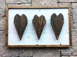 wood shims hearts wall art