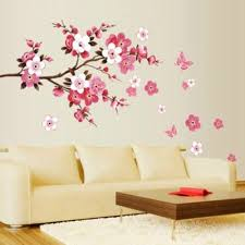 Amazon Com Peach Cheery Blossom Plum Flower Butterfly Floral Wall Sticker Decal Decor Removable Wallpaper Home Vinyl Hot Red Tree Branch For Living Room Bedroom A 71 Kitchen Dining