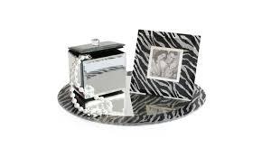 zebra print round mirror vanity set
