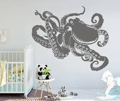 Octopus Sprut Tentacles Wall Sticker Squid Coastal Animals Sea Creature Kraken Decal Home Decor Nursery Kids Room Mural Eb582 Wall Stickers Aliexpress