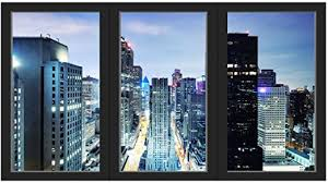 Amazon Com Vwaq Office Window Decal City Skyline Wall Sticker Removable Reusable Peel And Stick Mural Ow01 36 H X 60 W Home Kitchen