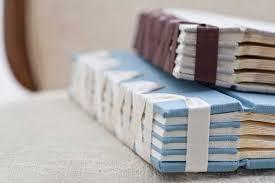 handmade wedding album from Priscilla Foster - Japanese stab binding with  ribbons #bindings #fabric | Book binding, Handmade books, Handmade notebook
