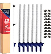 Ugira Lt 20 X Fiberglass Step In Electric Fence Posts With 40 X Plastic Wire Holders Total Length 120 Cm Above Ground Length 100 Cm Round 10 Mm Diameter