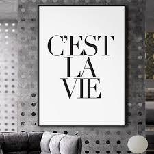 cest la vie bahasa perancis quotes paris poster kanvas dinding