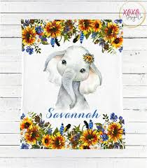 elephant baby blanket girl sunflower