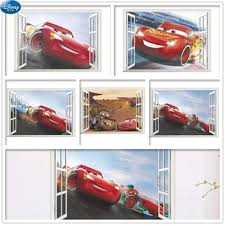 Big Offer 0654e0 Mcqueen Racing Cars Stickers On The Wall For Kids Room Boys Fake Window Sticker Murals For Walls Children S Decoration 3d Decals Cicig Co