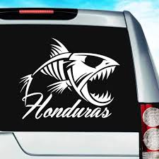 Honduras Fish Skeleton Vinyl Car Window Decal Sticker