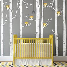 Amazon Com Simple Shapes Birch Tree With Owl Wall Decal Scheme A 96 243 Cm Tall Trees Furniture Decor