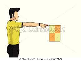 Soccer linesman referee wave the flag to point an offside ...