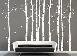 Wall Decalswhite Trees Decals Nature Wall Decals Vinyl Wall Etsy