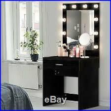 dressing table drawer desk black 10 led