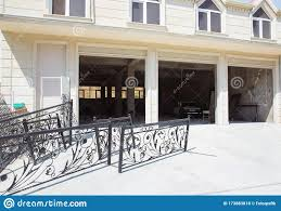 Shutter Door Or Roller Door And Concrete Floor Outside White Automatic Shutters In A House Gates In The Garage Automatic Stock Photo Image Of Home Garage 173883818