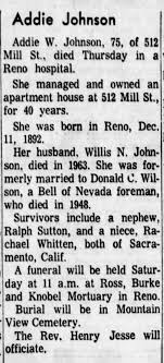 Addie Wilson Johnson obituary 1968 - Newspapers.com