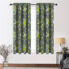 Amazon Com Youxianhome Kids Curtains Outer Space Theme Galaxy Art Room Darkening Blackout 36 Inch X 72 Inch 2 Curtain Panels Home Kitchen