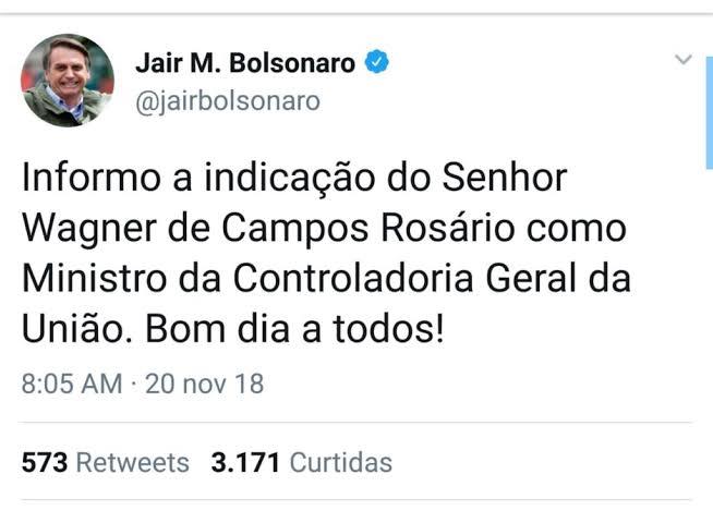 Resultado de imagem para O ministro da Controladoria-Geral da União, Wagner Rosário