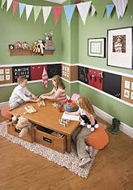 Love The Chair Rail Of Cork Board Chalk Boards And Magnet Boards Kids Playroom Playroom Kids Room