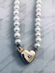 pearls with 14k yellow gold heart clasp