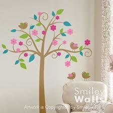Kids Wall Decal Whimsical Flower Tree With Love Birds Nursery Sticker Smileywalls On Artfire