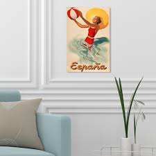 Shop Oliver Gal Espana Playa 1920s Advertising Wall Art Canvas Print Red Yellow Overstock 28633006