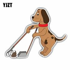 Yjzt 15cmx12 3cm Funny Dog Cleaning Up Poo Animal Car Bumper Window Car Decal C1 9052 Car Decal Car Bumpercar Window Decals Aliexpress