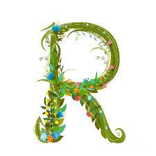 Letter R Floral Latin Decorative Digital Art by Popmarleo