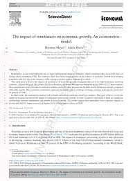 PDF) The impact of Remittances on Economic growth: An econometric model