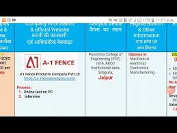 A1 Fence Products Company Pvt Ltd Requirements2020 Campus Coming Soon Diploma Pass Out क म पस Youtube