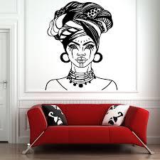 Tribal African Woman Decal Beautiful Afro Girl Home Decor Black Women Vinyl Wall Art Self Adhesive Wall Murals Diy Am04 Wall Stickers Aliexpress