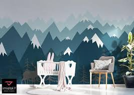 Mountains Wallpaper Woodland Decals Nursery Baby Room Azure Etsy Mountain Wall Decal Mountain Wall Decal Nursery Woodland Wallpaper