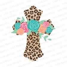 Leopard Floral Cross Pre Cut Heat Transfer Decal Vinyl Printcess