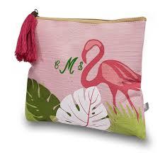 personalized flamingo pattern makeup bags