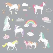 Roommates Unicorn Magic 23 Wall Decals Nursery Room Decor Unicorns Rainbow Peel Stick Stickers Walmart Com Walmart Com