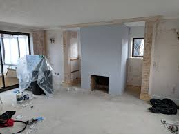 plasterboard around a fireplace not