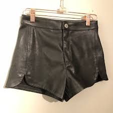 black faux leather high waisted