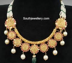 antique gold lakshmi necklace indian