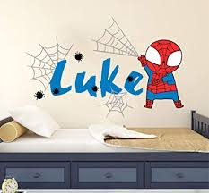 Amazon Com Baby Spiderman Custom Name Baby Boy Wall Decal Vinyl Sticker Nursery For Home Bedroom Arts Crafts Sewing