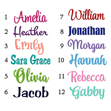 Amazon Com Name Sticker Decal Choice Of 12 Font Styles 20 Color Options Great For Personalizing Gifts Tumblers Etc Handmade