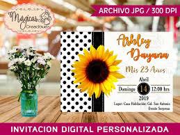 Invitacion Digital Cumpleanos Ellas Liston Girasol 80 00 En