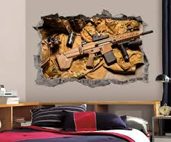 Rifle Wall Decal 3d Smashed Wall Art Military Kids Vinyl Wall Etsy