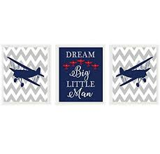 Amazon Com Airplane Nursery Art Baby Boy Room Dream Big Little Man Navy Blue Gray Red Plane Wall Art Boy Room Toddler Room Decor Big Boy Room Handmade