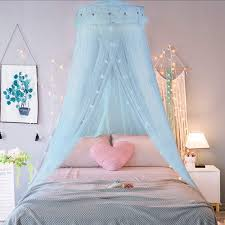 Amazon Com Jeteven Girl Bed Canopy Lace Mosquito Net For Girls Bed Princess Play Tent Reading Nook Round Lace Dome Curtains Baby Kids Games House Light Blue Home Kitchen