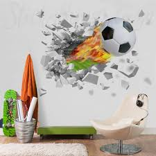 Flame Soccer Ball Wall Decal Fire 3d Soccer Ball Through The Wall