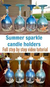 wine glass candle holders summer and